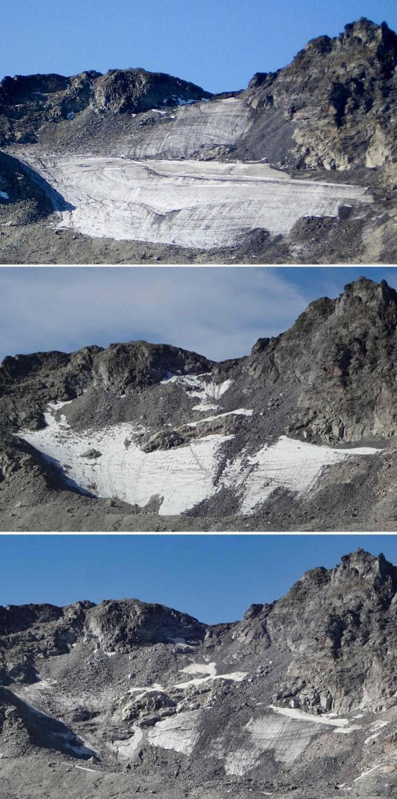 The Pizon glacier, pictured in Summer 2016 (top), 14 August 2017 (middle) and 4 September 4 2019 (bottom) (AFP/Getty Images)