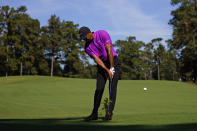 Tiger Woods hits on the second fairway during the third round of the Masters golf tournament Saturday, Nov. 14, 2020, in Augusta, Ga. (AP Photo/Matt Slocum)