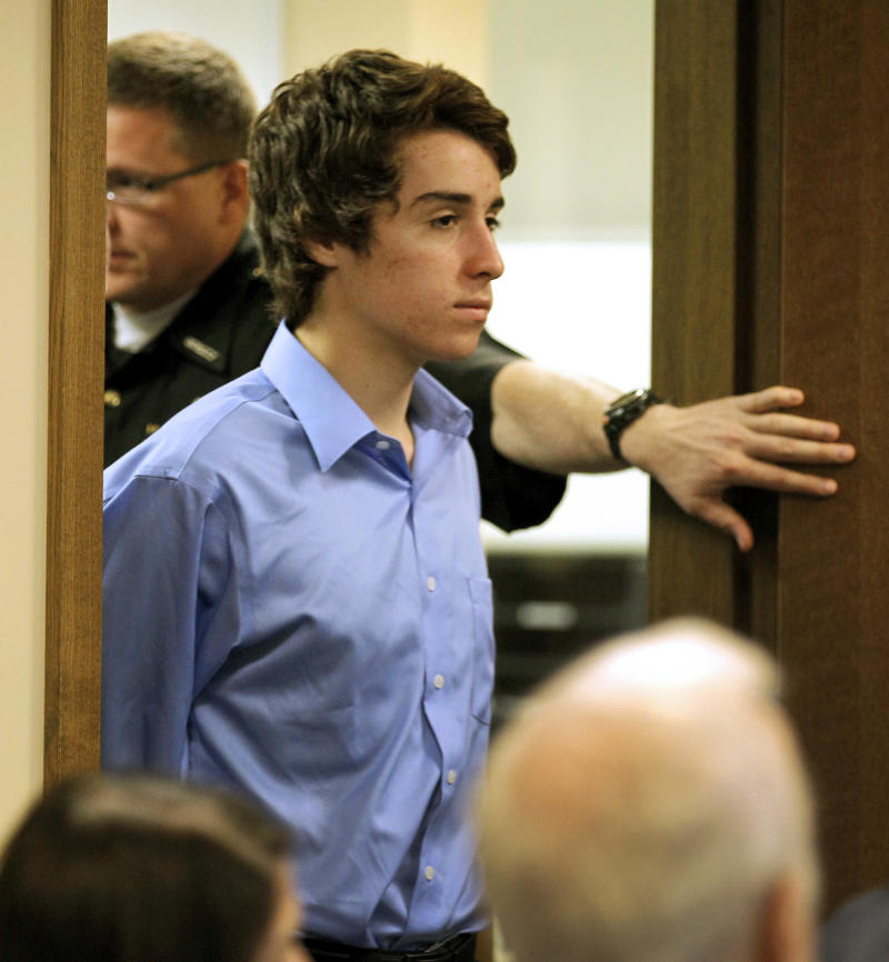 T.J. Lane, 17,  appears in Juvenile Court in Chardon, Ohio, on Wednesday, May 2, 2012. Lane is charged in the Feb. 27 Chardon High School rampage that left three students dead and two students seriously wounded. (AP Photo/Amy Sancetta)