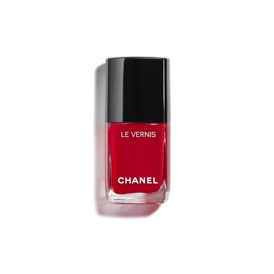 "I love red nails all year—they make me feel put-together and Old Hollywood, even though my nails are stubs—but it feels even more appropriate for this time of year. This is the perfect red-carpet red that's a bit richer than my usual cherry without verging into wine territory, which is a whole other category in my mind. Chanel polishes are worth every cent—each use feels like a little gift to yourself—and they last for a week without chipping. <em>—Bella Cacciatore, beauty associate</em> $528, Nordstrom. <a href=""https://www.nordstrom.com/s/chanel-le-vernis-longwear-nail-colour/4296192?origin="" rel=""nofollow noopener"" target=""_blank"" data-ylk=""slk:Get it now!"" class=""link rapid-noclick-resp"">Get it now!</a>"