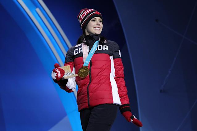 <p>In PyeongChang, their routine earned them their second gold medal as they helped propel Canada to the top of the podium in the figure skating team event. (Getty) </p>
