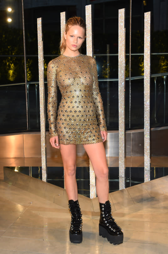 """<p>Model Anna Ewers attended the 2015 CFDA Awards wearing a sexy, <a href=""""http://www.vogue.com/13265030/alexander-wang-american-express-dress-2015-cfda-awards-anna-ewers/"""">custom-made minidress by Alexander Wang</a>, created from 500 American Express Gold Cards. The sheer getup was a tribute to the AmEx dress worn by costume designer Lizzy Gardiner at the Academy Awards 20 years earlier. Guess good credit never goes out of style!</p>"""