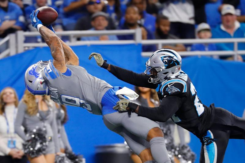 Detroit Lions wide receiver Kenny Golladay (19) has proven to be one of GM Bob Quinn's best draft choices. (AP Photo)