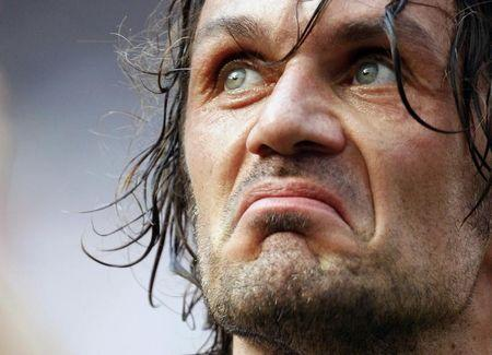 Paolo Maldini looks on at the end of the Italian serie A soccer match against AS Roma at the San Siro stadium in Milan May 24, 2009. REUTERS/Alessandro Garofalo