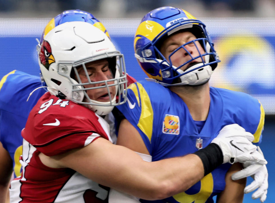 Los Angeles Rams quarterback Matthew Stafford looked little like an MVP candidate on Sunday. (Harry How/Getty Images)