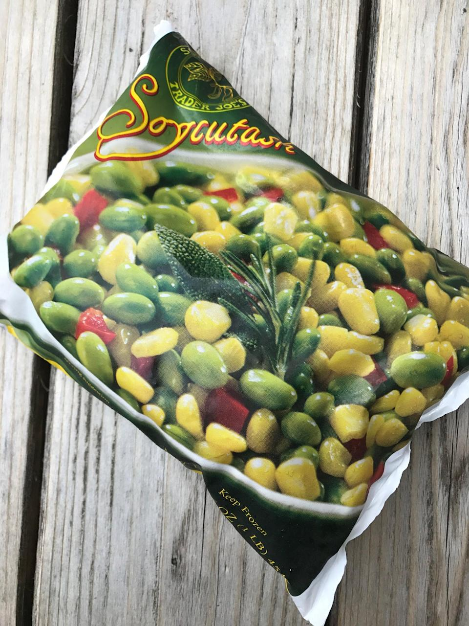 <p>Add this bag of plain corn, edamame, and diced red pepper to a can of black beans, and use as a simple burrito filling for a quick dinner. </p>