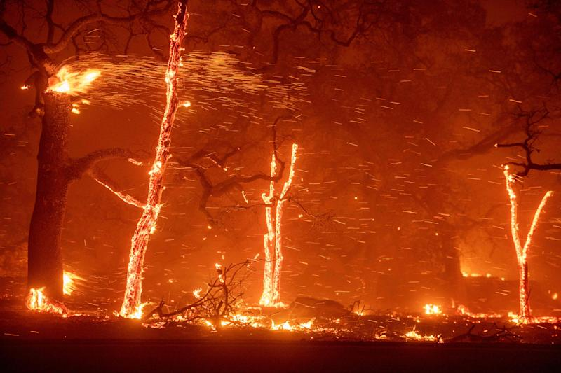In this file photo taken on November 08, 2018, embers fly as wind and flames from the Camp fire tear through Paradise, California. - It was the worst wildfire in California's history as it blasted through the small town of Paradise, killing 86 people and erasing everything in its path. But nearly one year after the inferno, the town in the northern California foothills that was home to 26,000 people is literally rising from the ashes.