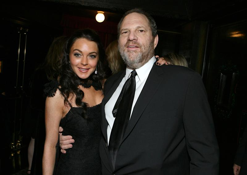 """Lindsay Lohan and Harvey Weinstein at the premiere of """"Bobby."""""""