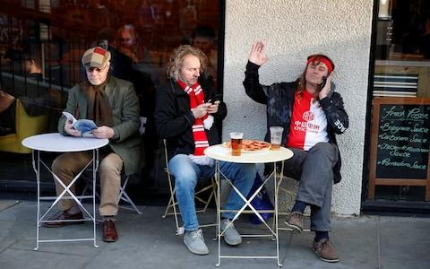 Slavia Prague fans outside the stadium before the match - Credit: Reuters