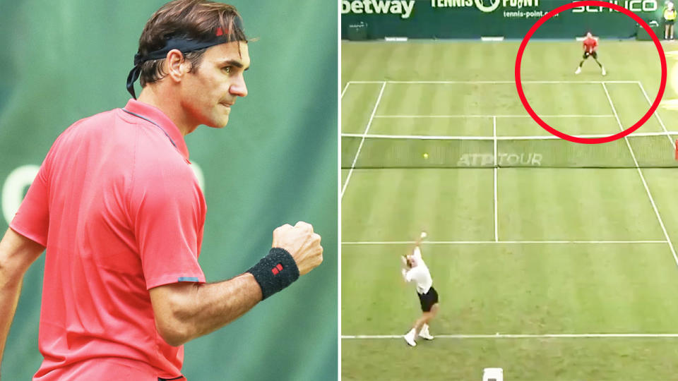 Roger Federer, pictured here in his first match on grass in two years in Halle.
