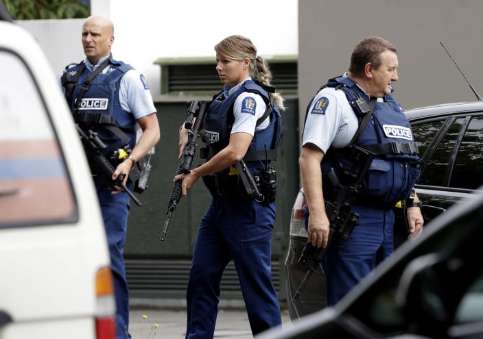 <p>Armed police patrol outside a mosque in central Christchurch, New Zealand. (AP Photo/Mark Baker) </p>