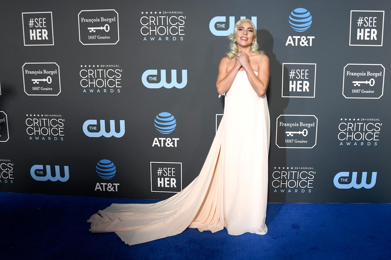 <p>Lady Gaga led the ethereal fashion trend on the blue carpet in a flowing nude strapless gown. Source: Getty </p>