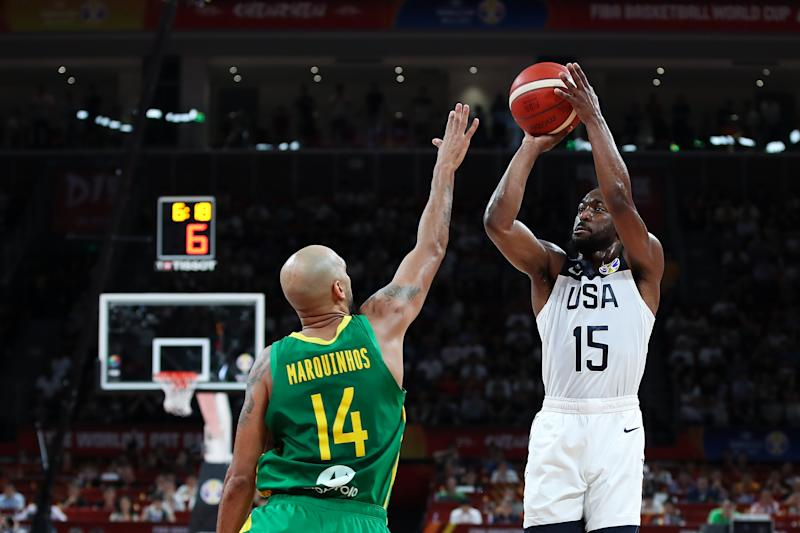 SHENZHEN, CHINA - SEPTEMBER 09: Kemba Walker 15# of USA drives against BMarquinhos Sousa #14 of Brazil during FIBA World Cup 2019 Group K match between USA and Brazil at Shenzhen Bay Sports Centre on September 9, 2019 in Shenzhen, China. (Photo by Lintao Zhang/Getty Images)
