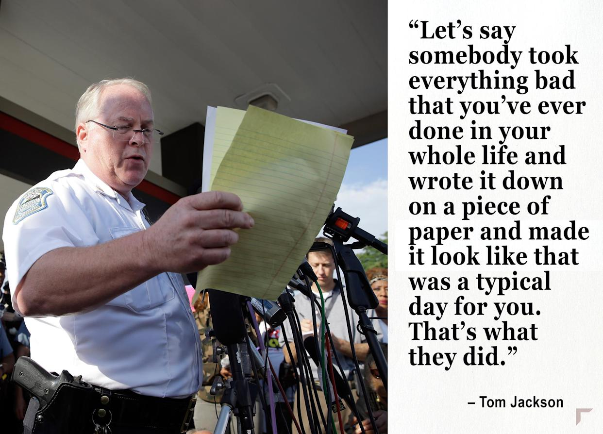 Then Ferguson Police Chief Tom Jackson releases the name of the the officer accused of fatally shooting Michael Brown. (Photo: Jeff Roberson/AP)