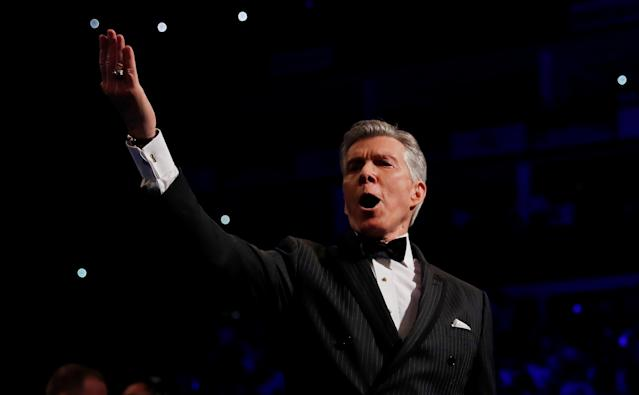 Announcer Michael Buffer introduces Tony Bellew vs David Haye at O2 Arena in London on May 5, 2018. (Action Images via Reuters/Andrew Couldridge)