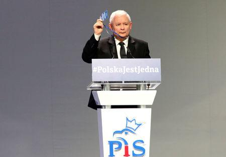 FILE PHOTO: Leader of ruling party Jaroslaw Kaczynski gestures during a Law and Justice party congress in Przysucha