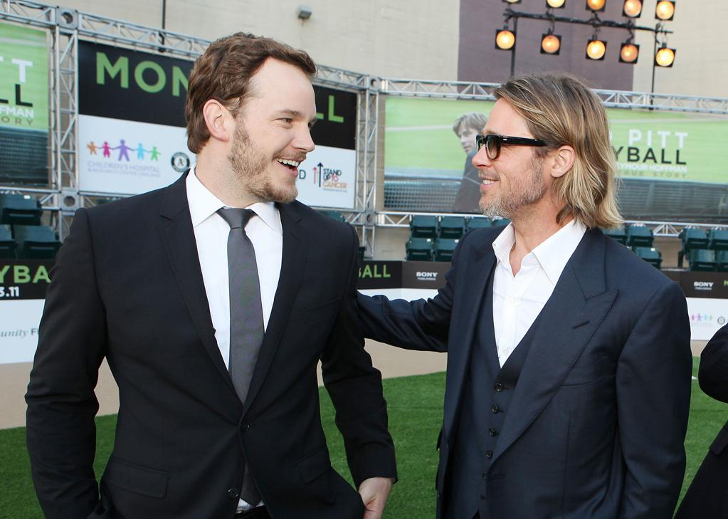 "<a href=""http://movies.yahoo.com/movie/contributor/1808880348"">Chris Pratt</a> and <a href=""http://movies.yahoo.com/movie/contributor/1800018965"">Brad Pitt</a> at the Oakland premiere of <a href=""http://movies.yahoo.com/movie/1810166670/info"">Moneyball</a> on September 19, 2011."