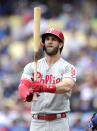 Philadelphia Phillies' Bryce Harper gets set to bat during the first inning of a baseball game against the Los Angeles Dodgers Sunday, June 2, 2019, in Los Angeles. (AP Photo/Mark J. Terrill)