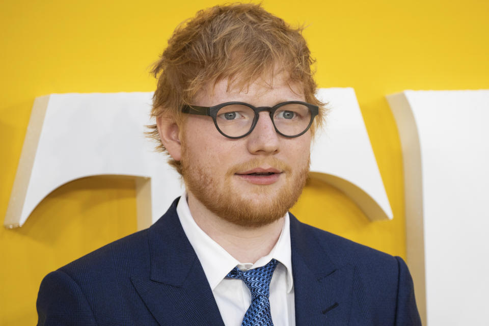 Ed Sheeran poses for photographers upon arrival at the premiere of the film 'Yesterday' in London, Tuesday, June 18, 2019.. (Photo by Vianney Le Caer/Invision/AP)