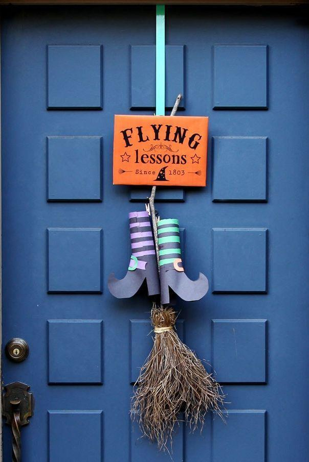 """<p>Construction paper, ribbon, and a broom are just about all you need to construct this """"Flying Lessons"""" door decoration. </p><p><strong>Get the tutorial at <a href=""""https://www.apieceofrainbow.com/diy-halloween-door-decoration/"""" rel=""""nofollow noopener"""" target=""""_blank"""" data-ylk=""""slk:A Piece of Rainbow"""" class=""""link rapid-noclick-resp"""">A Piece of Rainbow</a>.</strong></p><p><a class=""""link rapid-noclick-resp"""" href=""""https://go.redirectingat.com?id=74968X1596630&url=https%3A%2F%2Fwww.walmart.com%2Fsearch%2F%3Fquery%3Dconstruction%2Bpaper&sref=https%3A%2F%2Fwww.thepioneerwoman.com%2Fholidays-celebrations%2Fg32894423%2Foutdoor-halloween-decorations%2F"""" rel=""""nofollow noopener"""" target=""""_blank"""" data-ylk=""""slk:SHOP CONSTRUCTION PAPER"""">SHOP CONSTRUCTION PAPER</a></p>"""