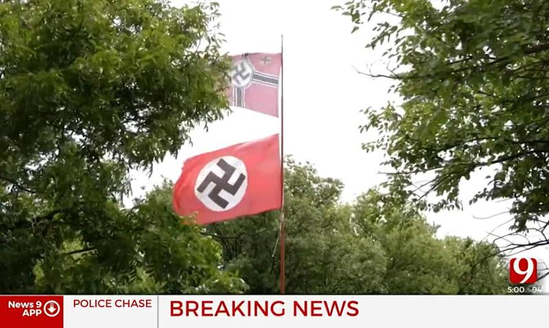 Homeowner shoots woman trying to steal his Nazi flag, Oklahoma cops say
