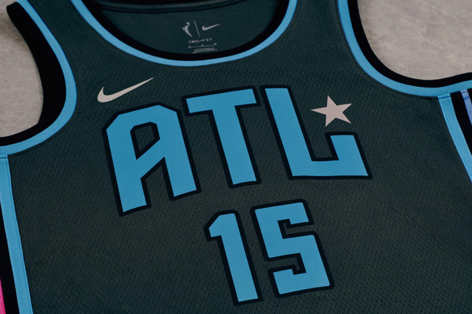 According to Nike, the silver star and logo detailing on the Atlanta Dream's Rebel uniforms are symbolic of the platinum and gold records produced in the city. (Photo by Nike)