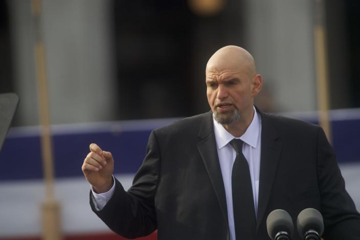 HARRISBURG, PA - JANUARY 15: Lieutenant Governor John Fetterman (D - PA) delivers an introduction for Governor Tom Wolf during an inaugural ceremony on January 15, 2019 in Harrisburg, Pennsylvania. Wolf won by more than 17 percent in November to claim another gubernatorial term. (Photo by Mark Makela/Getty Images)