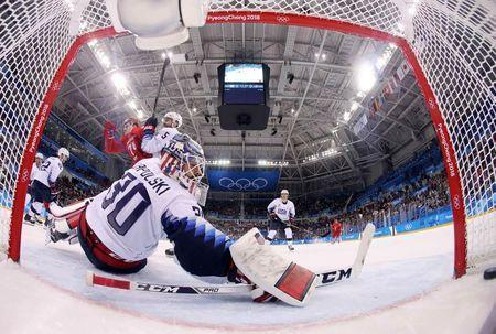 Ice Hockey - Pyeongchang 2018 Winter Olympics - Men's Preliminary Round Match - Olympic Athletes from Russia v U.S. - Gangneung Hockey Centre, Gangneung, South Korea - February 17, 2018 - Olympic Athlete from Russia Nikolai Prokhorkin scores a goal. REUTERS/Bruce Bennett/Pool