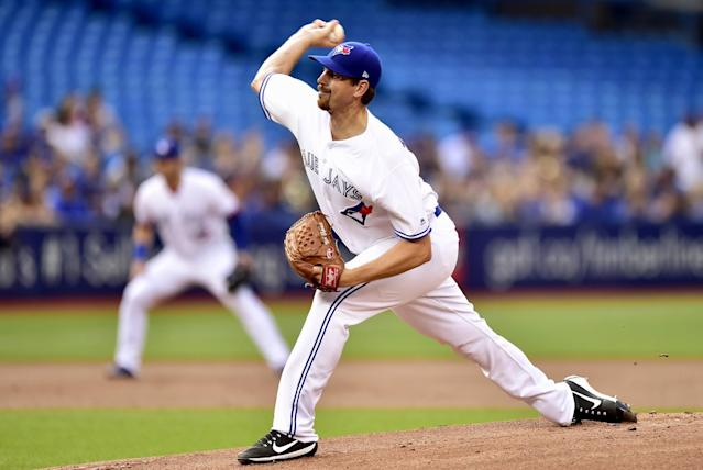 <p>Toronto Blue Jays starting pitcher Nick Tepesch works during first-inning baseball game action against the Tampa Bay Rays in Toronto, Monday, Aug. 14, 2017. (Frank Gunn/The Canadian Press via AP) </p>