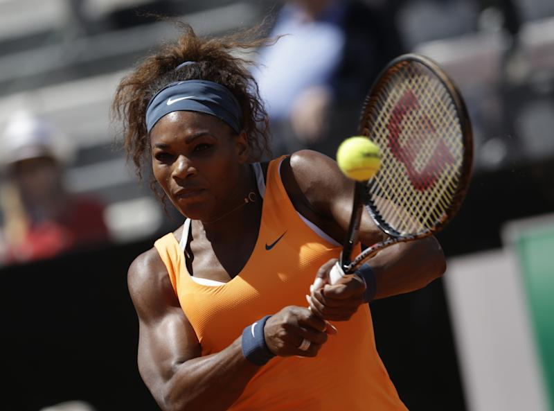 US Serena Williams returns the ball to Belarus' Victoria Azarenka during their final match at the Italian Open tennis tournament in Rome, Sunday, May 19, 2013. (AP Photo/Andrew Medichini)