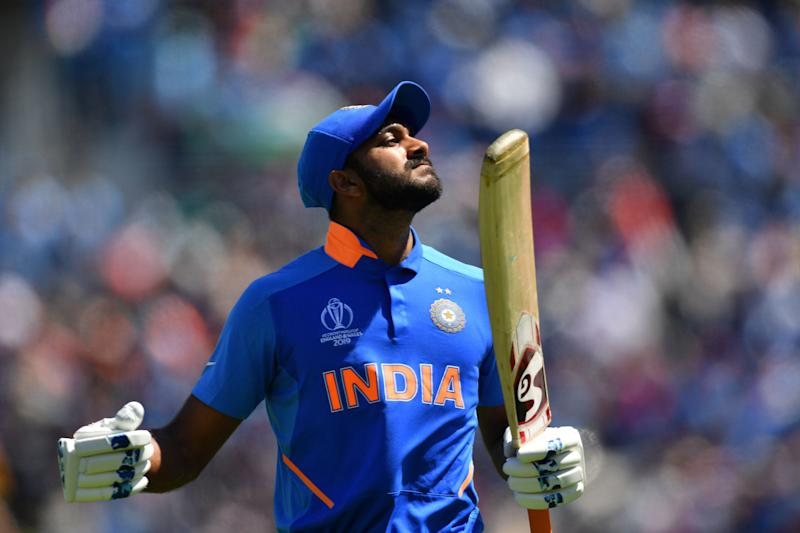 India's Vijay Shankar reacts as he walks back to the pavilion after his dismissal during the 2019 Cricket World Cup group stage match between India and Afghanistan at the Rose Bowl in Southampton, southern England, on June 22, 2019. (Photo by SAEED KHAN / AFP) / RESTRICTED TO EDITORIAL USE (Photo credit should read SAEED KHAN/AFP/Getty Images)