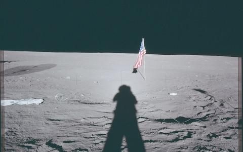Neil Armstrong's shadow on the surface of the moon  - Credit: NASA