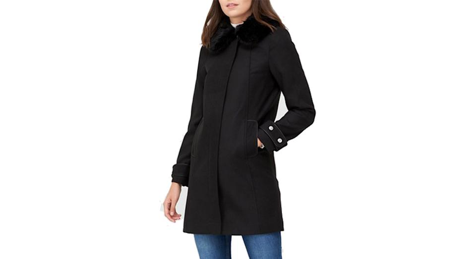 V by Very Zip Coat With Faux Fur Collar