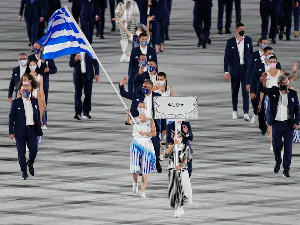 Greece makes its entrance at the Summer Olympics.