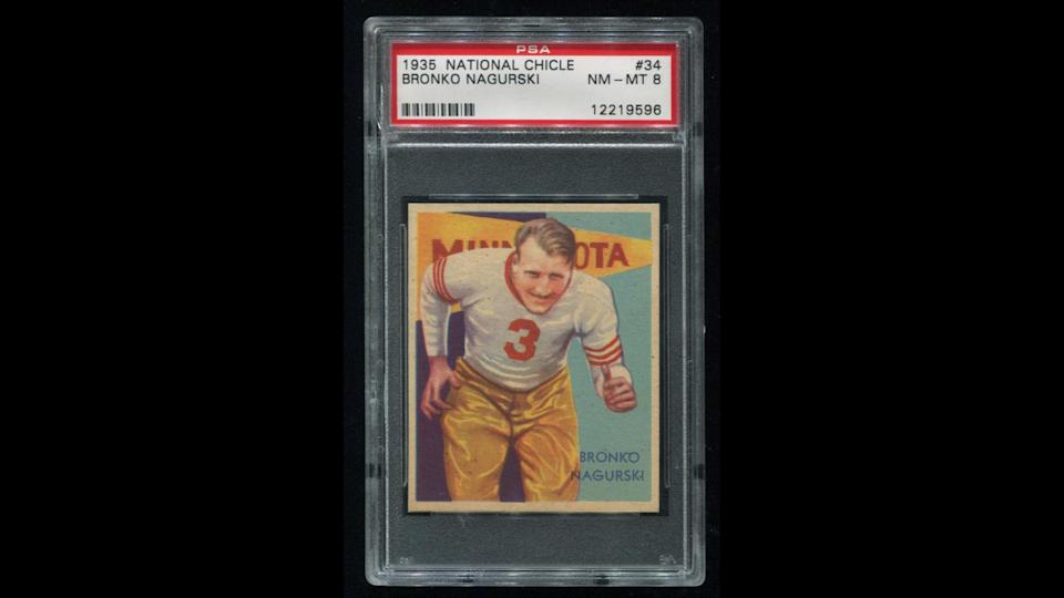 <p><strong>Selling price:</strong> $350,000</p> <p>The 1935 National Chicle Bronko Nagurski card is the most coveted football card in the world and the No. 17 most important trading card of any sport, according to Sports Collectors Daily. Since football had not yet entered the mainstream in the 1930s, few cards were printed of any player. But the iconic Bronko Nagurski card is particularly rare, especially in good condition. There are no known copies of the card graded PSA 10, which is mint condition, and there is only one known PSA 9 copy of the card. In 2011, the collector who held that copy sold the peerless Hall of Fame vintage rookie card to a private collector for $350,000.</p>