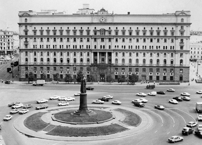 A photograph released on Sept. 21, 1964, shows the KGB building (aka Lubyanka) in Moscow with the monument of Soviet Committee for State Security (KGB) founder Felix Dzerzhinsky in front of it. (Photo: Nikolai Malyshev/AFP/Getty Images)