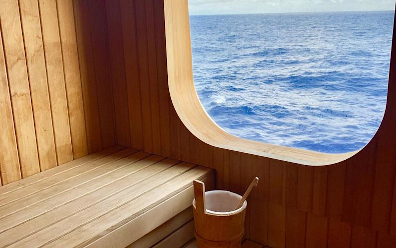 Silver Muse's onboard sauna offers views of the ocean. | Jillian Dara