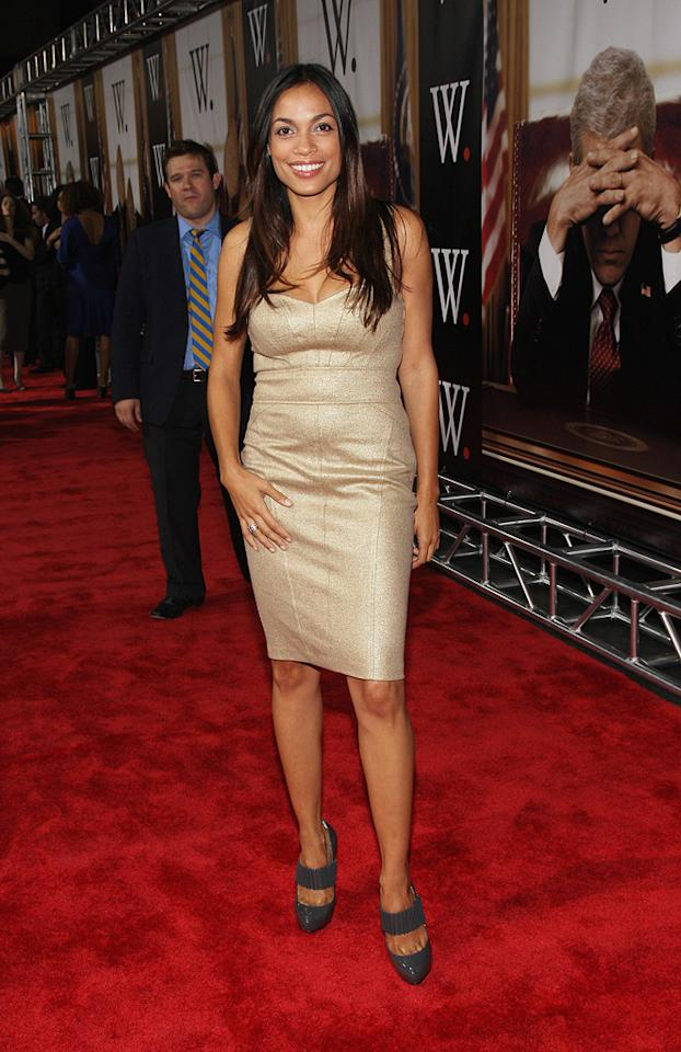 """<a href=""""http://movies.yahoo.com/movie/contributor/1800023039"""">Rosario Dawson</a> at the New York premiere of <a href=""""http://movies.yahoo.com/movie/1810026489/info"""">W.</a> - 10/14/2008"""