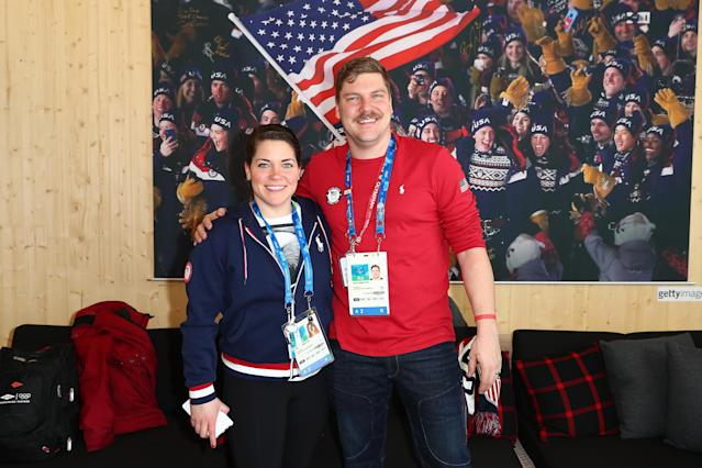 <p>Matt and Becca are the first U.S. team to compete in the first-ever mixed doubles curling event at a Winter Olympics.<br> (Photo by Joe Scarnici/Getty Images for USOC) </p>