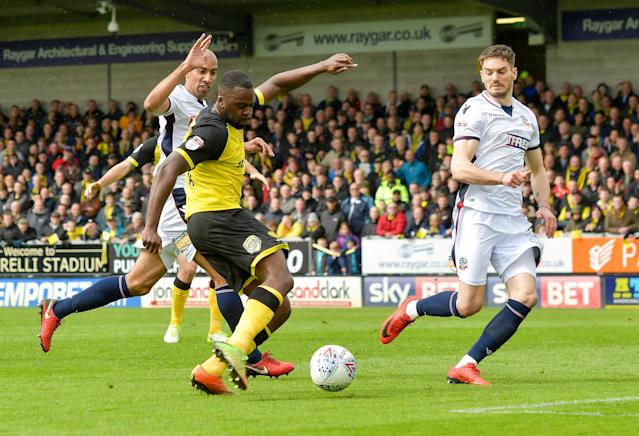 "Soccer Football - Championship - Burton Albion vs Bolton Wanderers - Pirelli Stadium, Burton, Britain - April 28, 2018 Burton Albion's Hope Akpan scores their first goal Action Images/Paul Burrows EDITORIAL USE ONLY. No use with unauthorized audio, video, data, fixture lists, club/league logos or ""live"" services. Online in-match use limited to 75 images, no video emulation. No use in betting, games or single club/league/player publications. Please contact your account representative for further details."