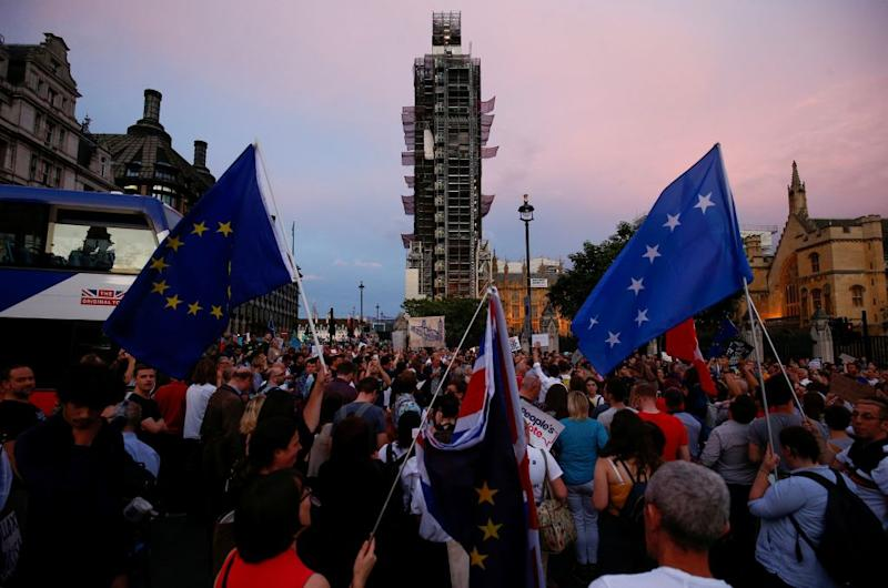 Protestors are seen during an anti-Brexit protest, outside the Houses of Parliament in London,