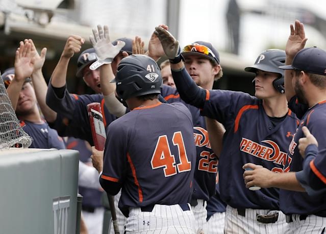 Pepperdine's Brandon Caruso (41) is congratulated by teammates after scoring a run on an RBI by teammate Aaron Brown, not pictured, during the first inning of an NCAA college baseball tournament super regional game against the TCU in Fort Worth, Texas, Monday, June 9, 2014. (AP Photo/Brandon Wade)