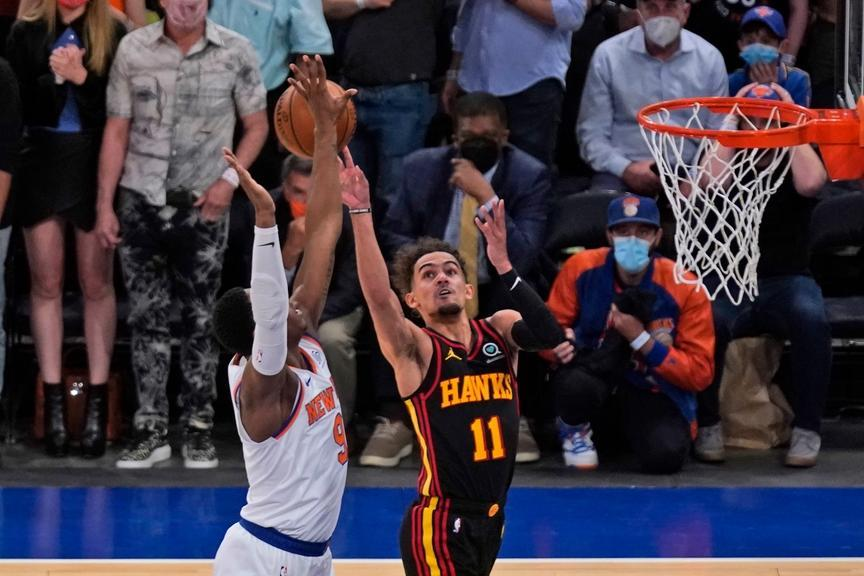 Trae Young draws foul against Knicks Game 1 playoffs 2021