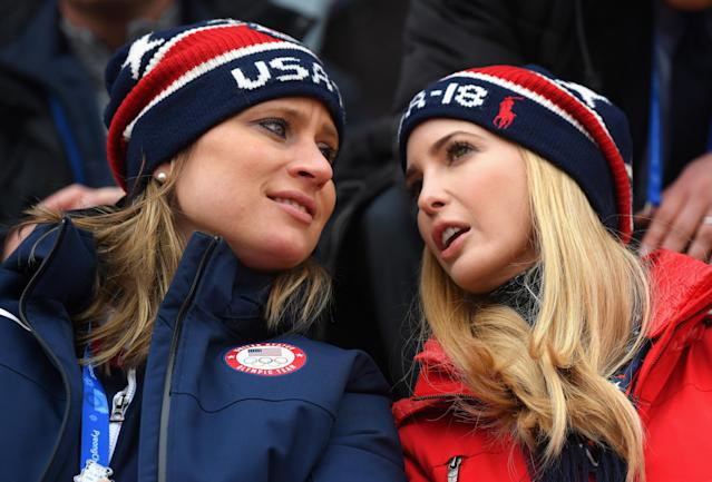 <p>Ivanka Trump speaks with IOC executive board member Angela Ruggiero during the Snowboard – Men's Big Air Final at Alpensia Ski Jumping Centre on February 24, 2018 in Pyeongchang-gun, South Korea. Ivanka Trump is on a four-day visit to South Korea to attend the closing ceremony of the PyeongChang Winter Olympics. (Photo by Carl Court/Getty Images) </p>