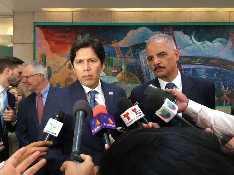 California state Senate President pro tempore Kevin de Leon, left, and Holder on June 19, 2017