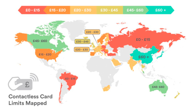 Map shows how much you can spend on contactless cards around the world