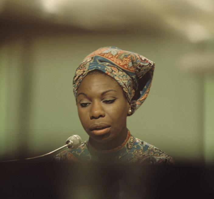 American singer, songwriter, pianist and civil rights activist Nina Simone (1933-2003) performs on a television show at BBC Television Centre in London in 1966. (Photo by David Redfern/Redferns)
