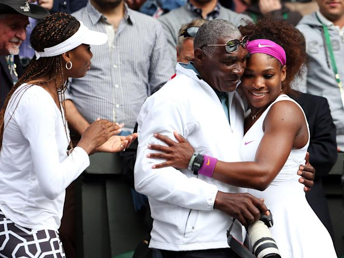 The real Venus, Serena and Richard (from L-R) celebrating after the Ladies' Singles final match against Agnieszka Radwanska of Poland on day twelve of the Wimbledon Lawn Tennis Championships at the All England Lawn Tennis and Croquet Club on July 7, 2012 (Getty Images)