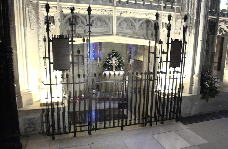 The George VI Memorial Chapel in St George's Chapel, Windsor, where Queen Elizabeth, the Queen Mother was intered, after her funeral in Westminster Abbey.  She was laid to rest alongside her husband, King George VI, who died in 1952.    * The casket that contains the ashes of Princess Margaret, who died in February, is also being placed in the vault.   (Photo by Tim Ockenden - PA Images/PA Images via Getty Images)