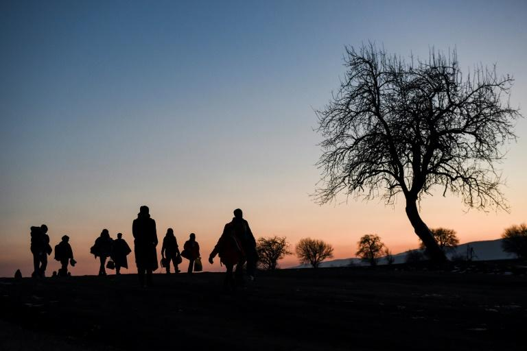 Migrants and refugees arrive in Serbia, near the village of Miratovac, in January
